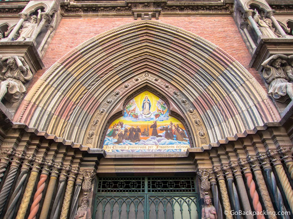 The multi-colored entrance to Igelisa del Sagrado Corazon