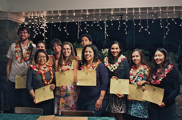 <p>Graduating students in UH Manoa's library and information science program celebrated with their own ceremony</p>