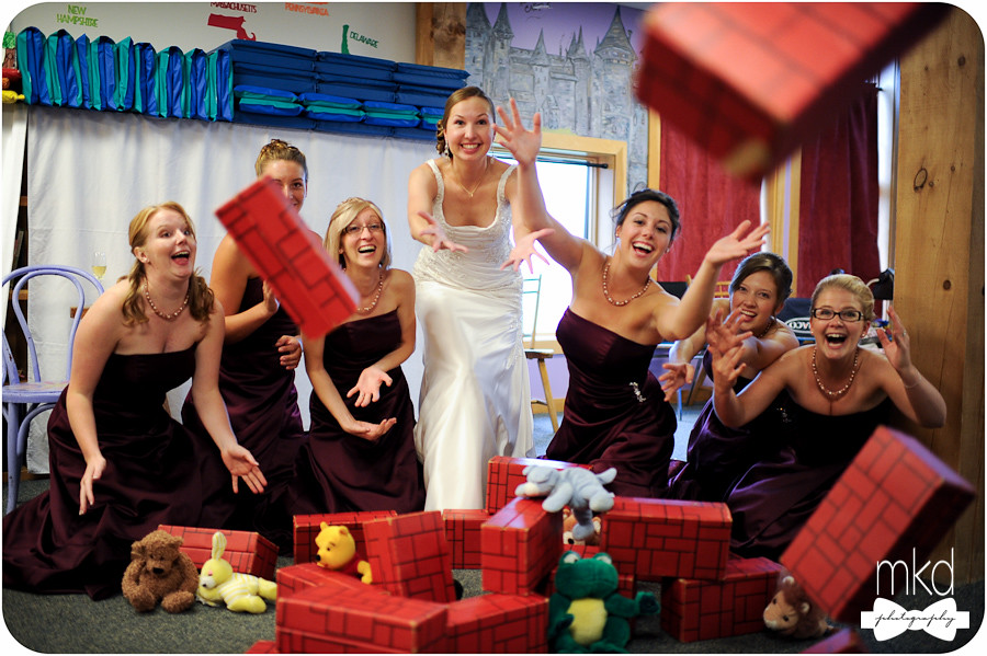 Bridesmaids goofing off