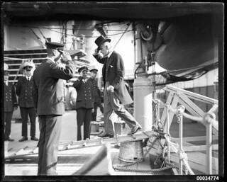Lord Mayor of Sydney, Ernest Samuel Marks, boarding HNLMS JAVA, 10 October 1930