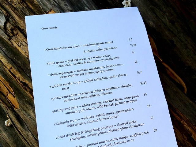 Dinner Menu at Outerlands - San Francisco