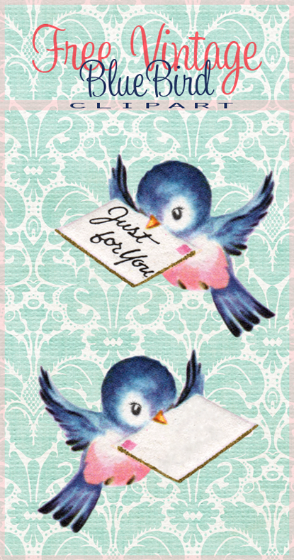 Free Vintage Bluebird Clip Art for Shabby Blogs By FPTFY web ex