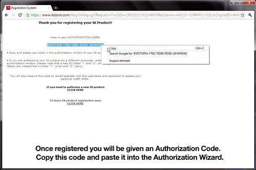"Once you receive your Authorization Code, highlight the code and right click to select ""copy."