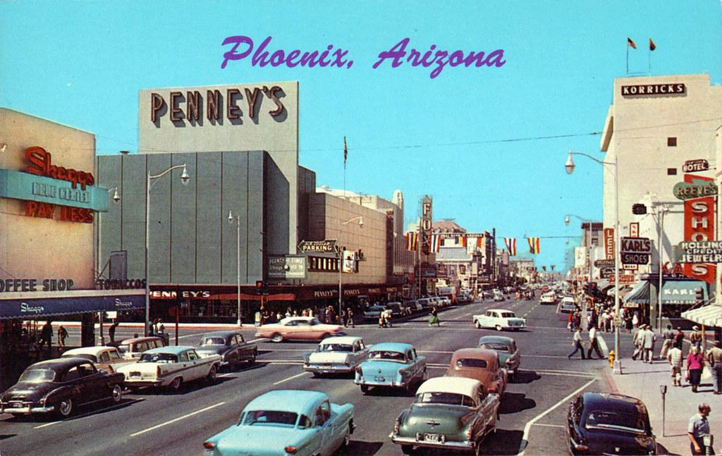 washington street vintage phoenix arizona 1950's