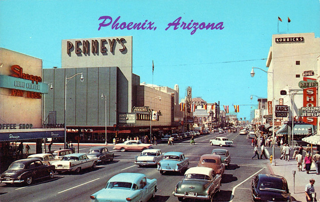 washington street vintage phoenix arizona 1950's