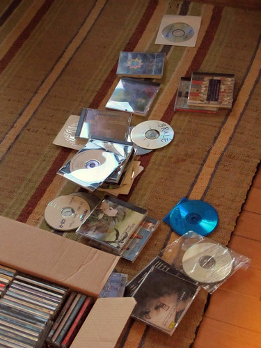 CDs on the floor