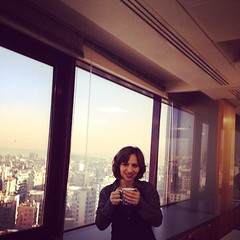 Morning #tea :) #breakfast #sobhyeh #hot #beverages #window #sky #beirut #crowded #buildings #colleagues #shirt #mug #grey #black #lipstick #purple #esteelauder #violetelectra #instabeauty #instamorning #instatea #short #hair #style #gilet