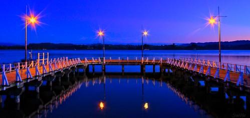 ohope wharf dusk outdoor water harbour sunset lights assymetrical bridge light hdr pier waterfront sky skyline landscape shore seaside