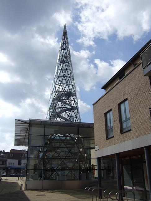 tower if glass with spiral staircase