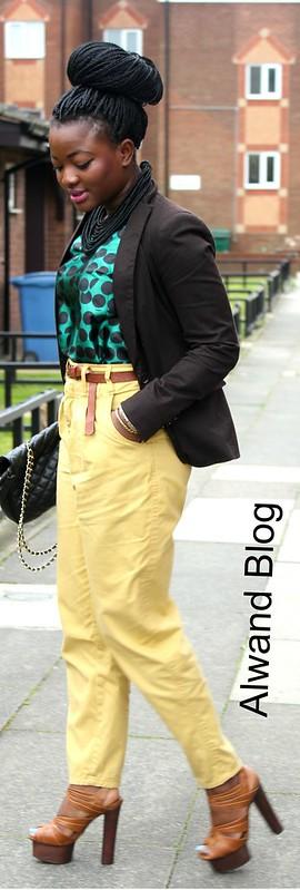 Polka dot blouse, brown blazer & yellow pants: Street Style