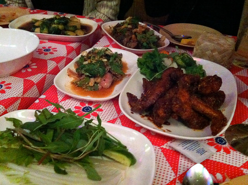 Brussels Sprouts, Northern Thai Spicy hand-minced pork salad, wings, spicy Isaan flank steak salad, Pok Pok NY