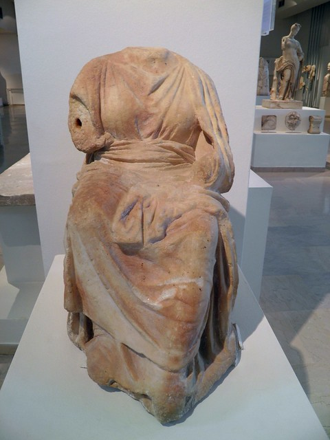 Statue of Demeter on the cista mystica, from the sanctuary of Isis, late 4th c. BC, Archaeological Museum, Dion