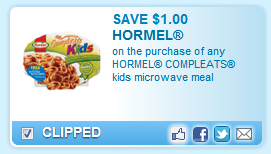Hormel Compleats Kid Meal Coupon