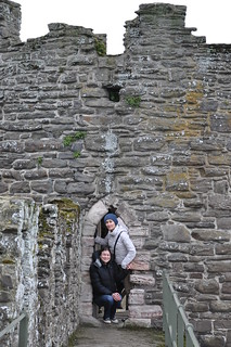 Crammed in a doorway on the Conwy city walls