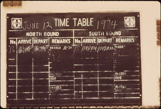 Timetable at Pauls Valley, Oklahoma, on the route of the Lone Star between Chicago and Houston, Texas, June 1974