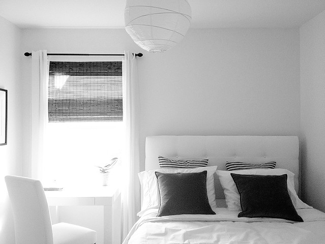 black, white and grey bedroom