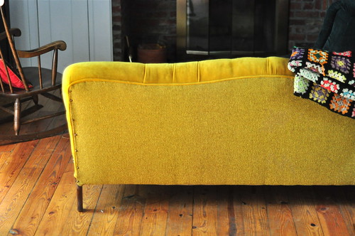 the yellow velvet couch
