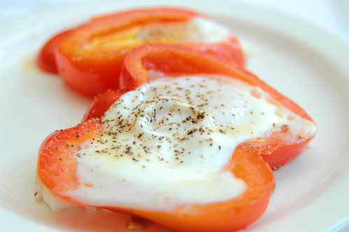 recipe: red bell pepper ringed sunny side up eggs!