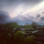 Mt. Fuji, a view from our deck as the clouds roll in - #Japan #dna2japan #gadv