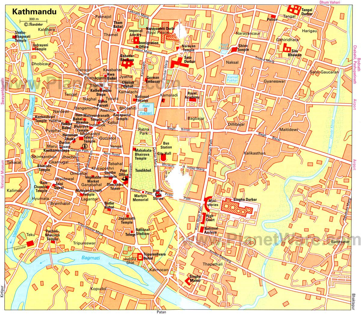 Mapa de Kathmandu, Nepal