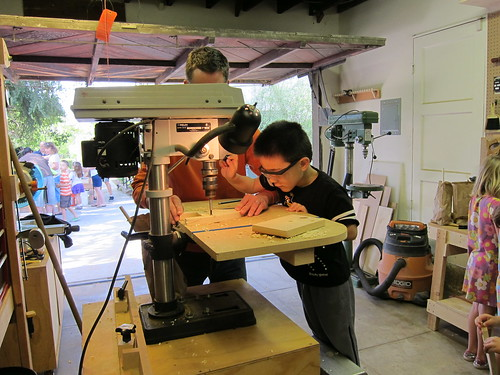 Kai at the drill press