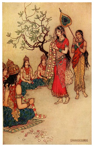 007-Damayanti escogiendo marido-Indian myth  and legend 1913-Warwick Goble