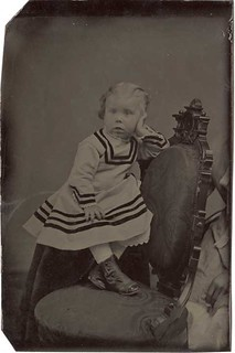 Tintype of a Nonchalant Tot with a Hidden Mother