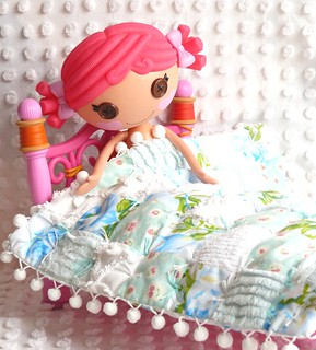 Mini Lalaoopsy Doll Vintage Chenille & Sheet, Japenese Fabric Patchwork Min Quilt & Pillow with Pom-Poms