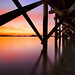 Under a Pier, a Sunset Over Boston by chris lazzery