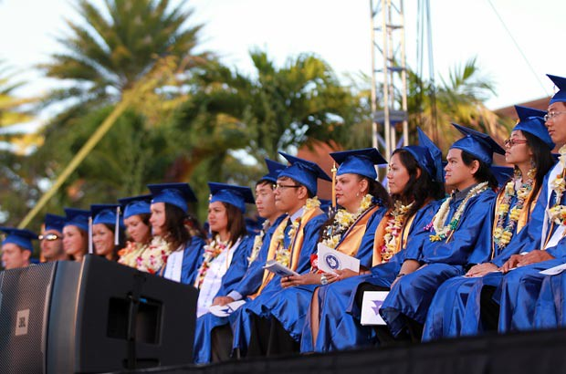 <p>A moment of reflection for Kapi'olani Community College honor graduates</p>