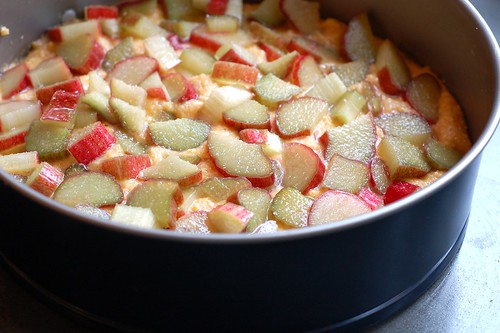 Rhubarb Johnnycake about to go into the oven by Eve Fox, Garden of Eating blog, copyright 2012
