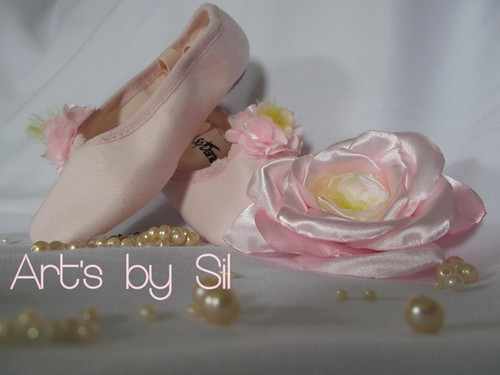 sapatilha balé e flor para cabelo by Art's by SiL
