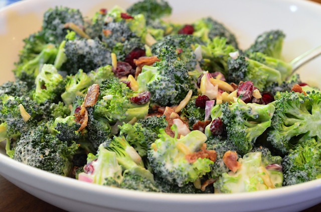 Broccoli Salad in a white serving bowl.