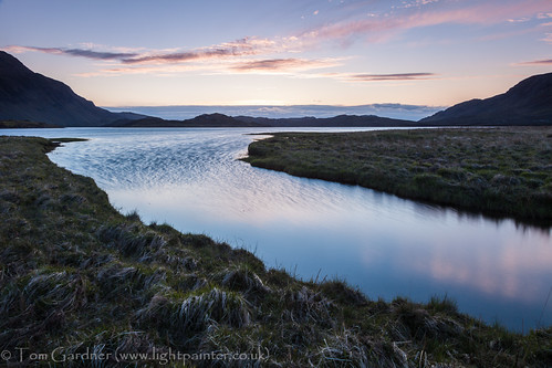 Just after sunset on Ben Stack from Loch Stack, Sutherland by tomgardner