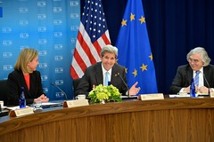 U.S. Secretary of State John Kerry shares a laugh with European Union High Representative Federica Mogherini and U.S. Secretary of Energy Dr. Ernest Moniz at the seventh U.S.-EU Energy Council meeting on May 4, 2016, at the U.S. Department of State in Washington, D.C. [State Department photo/ Public Domain]