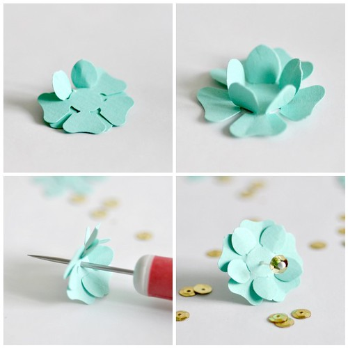 Making paper punch flowers