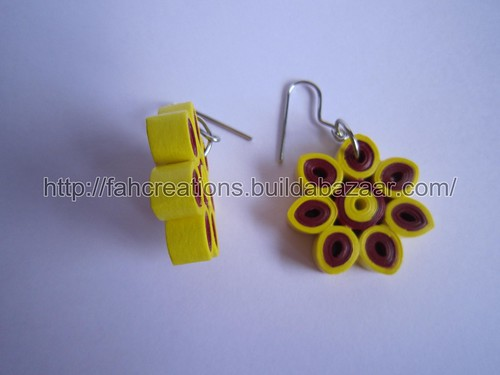 Handmade Jewelry - Paper Quilling Flower Earring (1) by fah2305