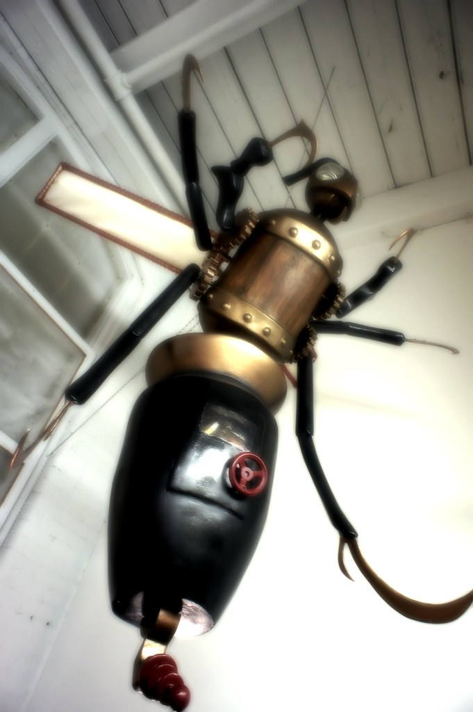 steampunk wasp bot sculpture