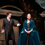 Valmont (Michael T. Weiss) implores Merteuil (Tasha Lawrence) to keep up her end of their dastardly bargain in the Huntington Theatre Company's production of