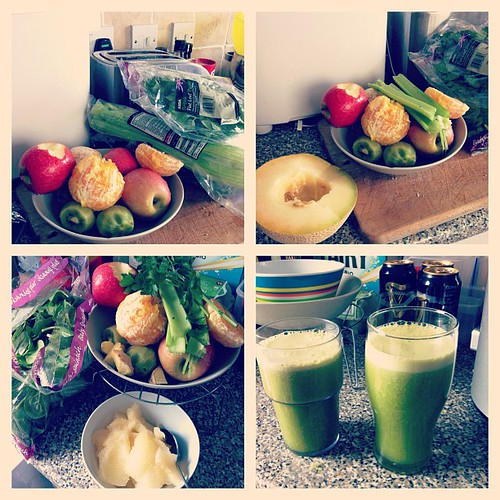 Got a juicer for my bday. Now I'm obsessed with juicing. Juiced all this this morning. Got the following in it: kiwis, apples, oranges, melon, spinach, parsley, celery and ginger. I feel healthy just reading that. It was so tasty too! Pls ignore lager in