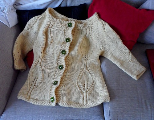Modern Garden Cardi Debbie Bliss Como Yellow leaf lace knitting