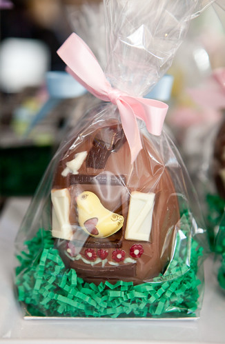 Cute Easter chocolate egg with a chick