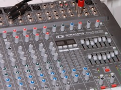 electronic device, buchla 200 series electric music box, mixing console,