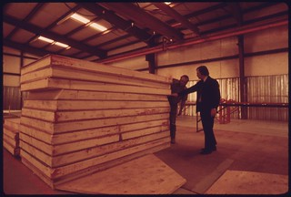 Manufacturing facility of Sunglow Corporation, where backyard solar heating units are made under license..., 05/1975.