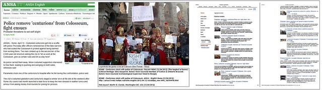 ROME - Centurions clash with police at Colosseum. ANSA & ITALIAN NEWS (12/04/2012): [The Neglect of Rome's Cultural Heritage: Dino Gasperini, Rome's Councialman of Culture & Umberto Broccolli, Rome's Archaeological Supervisor Need to Resign].