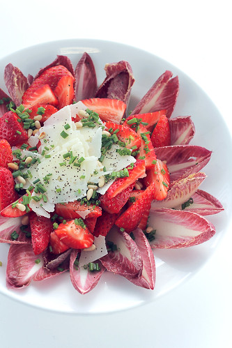 Strawberries, Parmigiano and Chicory