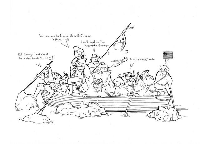 George Washington Crossing Delaware Sketch Coloring Page