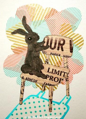 紙膠帶明信片<小黑兔>