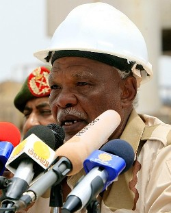 Sudanese Oil Minister Awad Ahmad al-Jaz speaks to the press at the Heglig oil facility on May 2, 2012 after Sudan started pumping oil again from the war-damaged oil field, 12 days after occupying South Sudanese troops left the area. by Pan-African News Wire File Photos