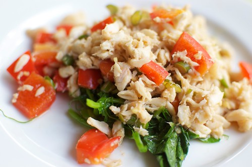 Warm Crab Salad with Garlic Pea Vine